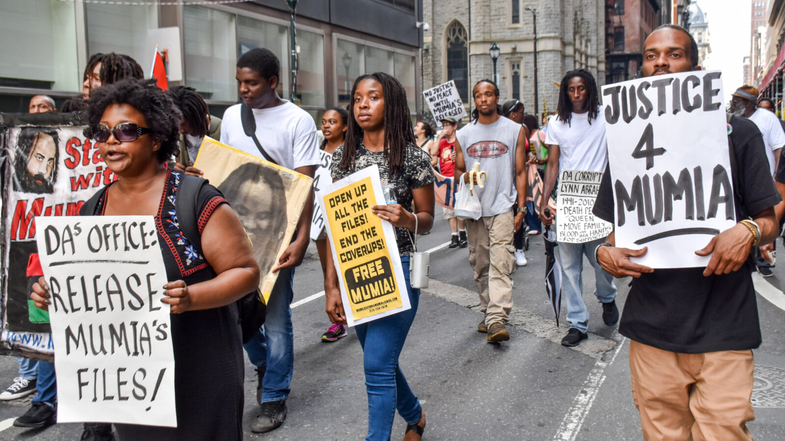 Protest for justice for Mumia Abu-Jamal. By Joe Piette