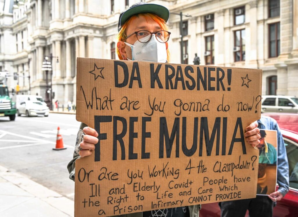 """Protesters call on Krasner to """"Free Mumia"""" in Philadelphia, March 12, 2021."""