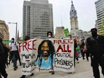 April 24, 2021, Protesters take to downtown Philadelphia for Mumia Abu-Jamal