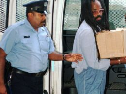 Mumia Abu-Jamal arriving at court in 1985